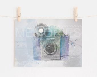 CAMERA ILLUSTRATION – Printable, Watercolor Vintage Camera Art Print, Printable, Wall Art, Kitchen Wall Art, Living Room, Photographer
