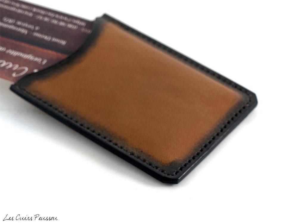 porte cartes de visite en cuir cuir premium porte carte etsy. Black Bedroom Furniture Sets. Home Design Ideas