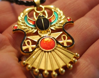 Egyptian Winged Scarab Pendant Egypt Necklace with a black chain, 60cm