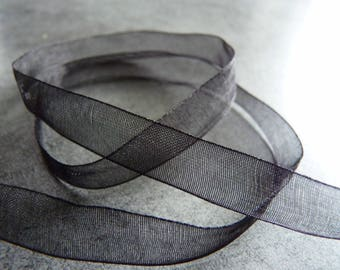 1 m x 1 cm black Organza Ribbon