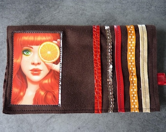 Girly checkbook, ribbons and brown suede
