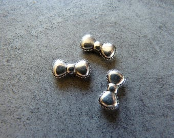 5 charms beads silver bows