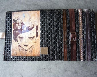 """Door-checkbook """"Lady"""", ribbons and black material effect"""