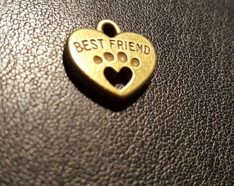 """Set of 2 charms with inscription """"best friend"""" heart shaped pet necklace"""