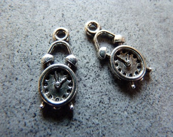 Set of 2 charms silver metal alarm clock