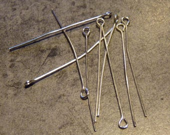 Set of 10 long with loop silver rods
