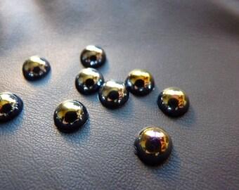6 half spheres black/blue metallic plastic diamond. 8mm