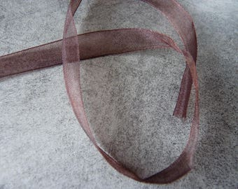 1 m x 1 cm chocolate Organza Ribbon