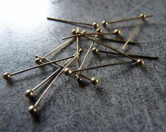 Set of 20 pins ball bronze 2cm