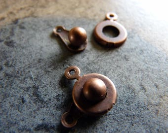 Copper clasp round pressure 13 x 8 mm