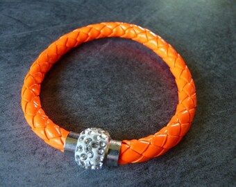 Dark orange braided leather strap and magnetic rhinestone ball