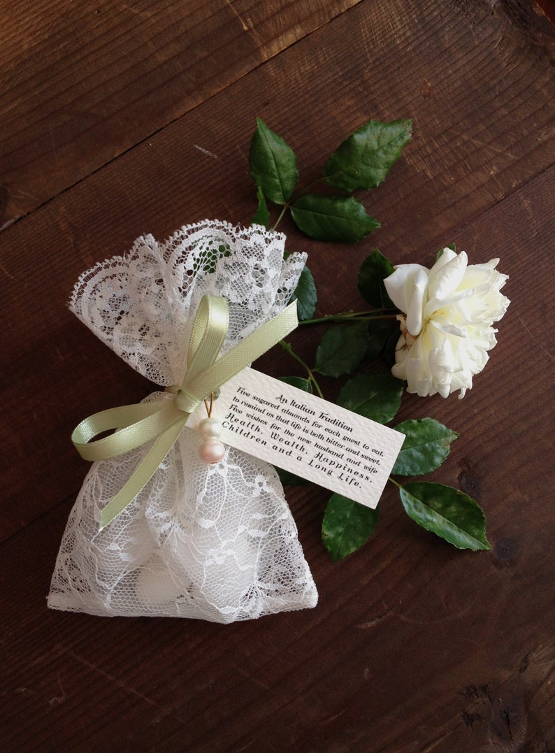 2f80e1c2957b6f Lace favor bag italian wedding favors jewelry pouches