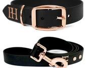 Durable dog collar BLACK RAIN with rose gold colored hardware - handmade - biothane