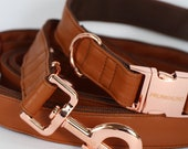 Dog collar TOBACCO with rose gold colored hardware - handmade from soft black faux leather - collar and matching leash available