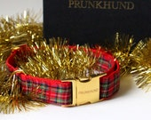 Dog collar Highland CHRISTMAS EDITION in red and gold - tartan pattern - Perfect Christmas gift for dog lovers!
