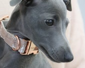 Dog collar LACE with rose gold colored hardware - handmade from fabric - matching leash available