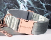 Dog collar MOON SHADOW with rosegold colored hardware - handmade in Germany