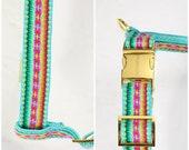 Designer dog harness IBIZA mint - designer dog harness with boho hippie pattern - matching leash available