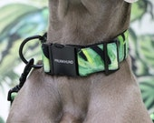 Designer dog collar JUNGLE FEVER - handmade in Germany - palm print and black hardware
