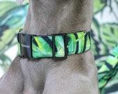 Designer dog collar JUNGLE FEVER - handmade in Germany - palm print and black hardware