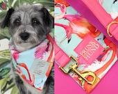Dog bandana FLAMINGO mint and pink - handmade with love - tropical trend
