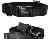 Minimal designer dog collar DARK - handmade in Germany with matte black metal hardware -