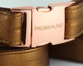 Dog collar BRONZE with rose gold colored hardware -  METALLIC COLLECTION - durable faux leather - collar and matching leash available