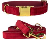 Dog collar SANTA BABY with gold colored hardware - handcrafted