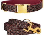 Dog collar OXFORD with gold colored hardware - handmade from soft dark red faux leather - matching leash available