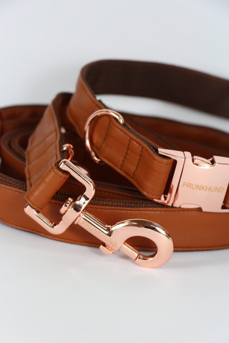 Dog collar TOBACCO with rose gold colored hardware  handmade image 0