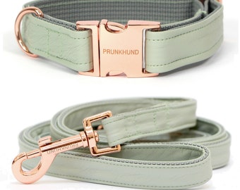 Designer dog collar MINT with rose gold colored hardware