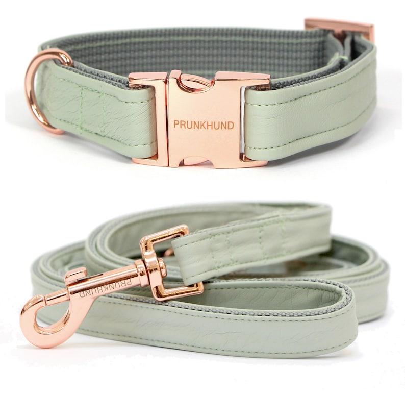 Designer dog collar MINT with rose gold colored hardware image 0