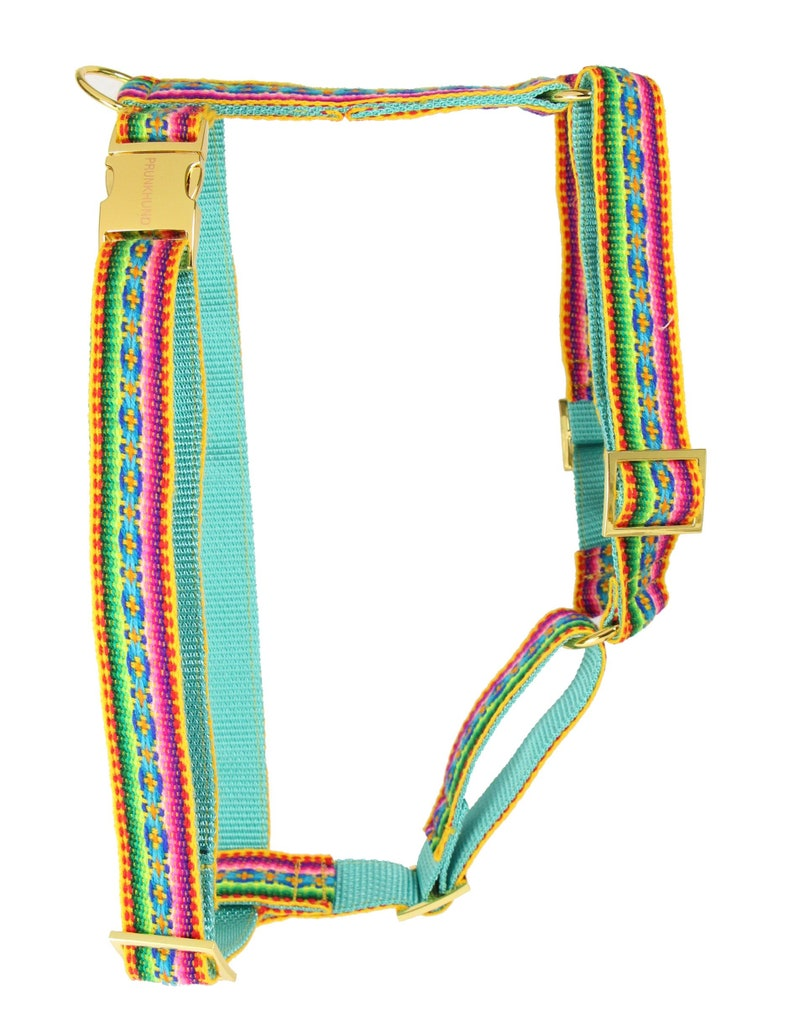 matching leash available Designer dog harness IBIZA yellow designer dog harness with boho pattern