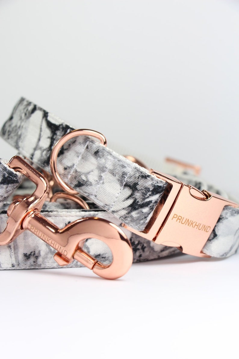 Dog collar MARBLE with rose gold colored hardware  handmade  image 0