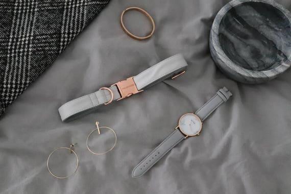 Collier PURE similicuir doux avec des parties métalliques or roses - à la main en Allemagne