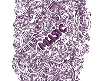 Music Collage Machine Embroidery Design - 5x7 -inch hoop, CD-139