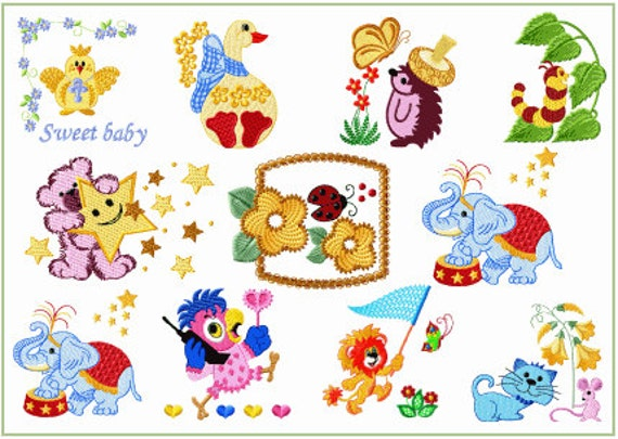 Abc Embroidery 11 Baby And Kids 3 Machine Embroidery Designs Etsy