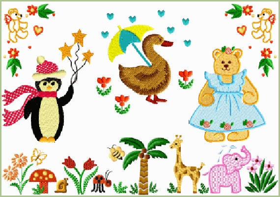 Abc Embroidery 8 Baby And Kids 1 Machine Embroidery Designs For 4x4