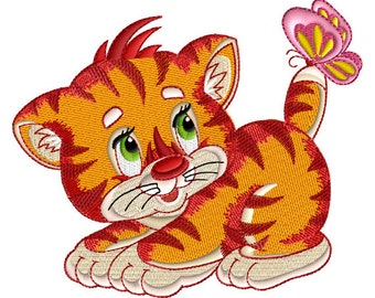 "Kitten-N-Butterfly Machine Embroidery Design in 3 Sizes 4"" x 4"" and 5"" x 7"" hoops"