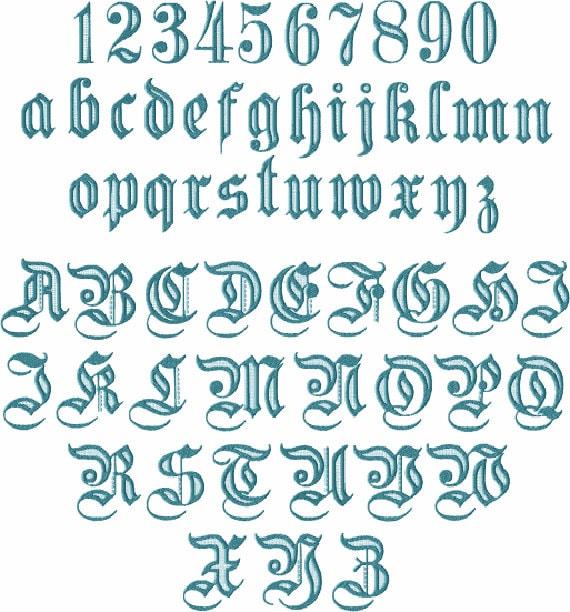 Gótico 1 alfabeto 26 mayúsculas 10 números y 26 letras de | Etsy