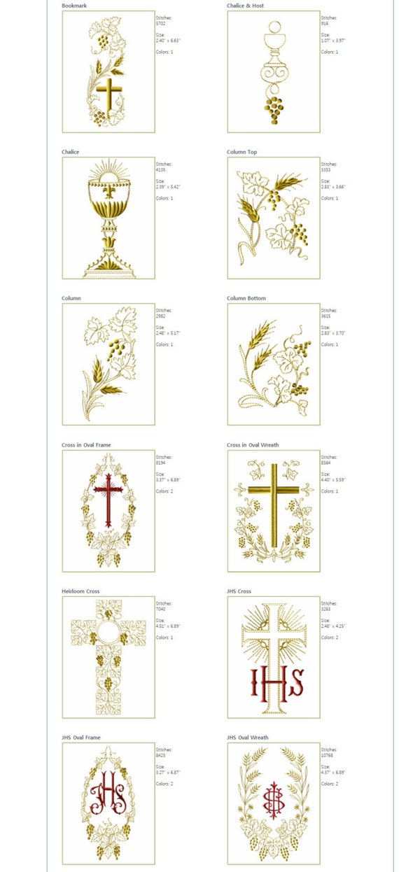 Abc Embroidery 29 Designs Christian Symbols For Etsy