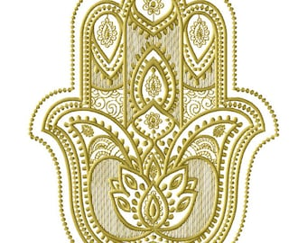 Hamsa Machine Embroidery Design - 2 Sizes 5 x 7-inch hoop,6 x 9-inch hoop, CD-128