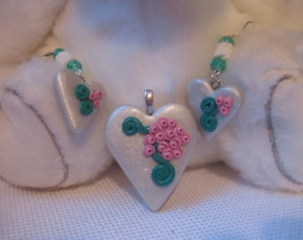White Heart Pendant and Earring Set