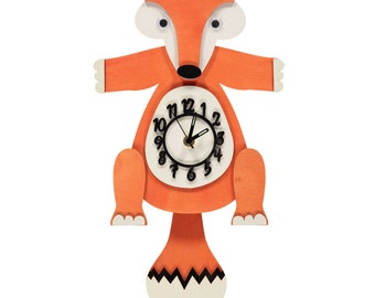 Fox Design Wooden Clock Handmade In The UK CLEARANCE