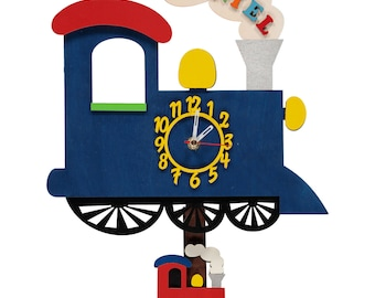 Blue Train Personalised Wooden Personalised Wall Clock
