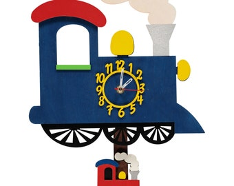 Blue Train Personalised Wooden Personalised Clock