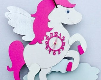 Unicorn Personalised Wooden Clock