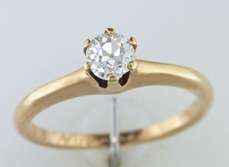 8669f071ea5cf Diamond Engagement Ring 1/4ct 14K Yellow Gold Victorian Vintage Antique