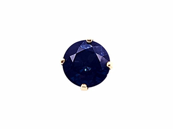 Sapphire Stud Single Earring .65ct 14K Yellow Gold