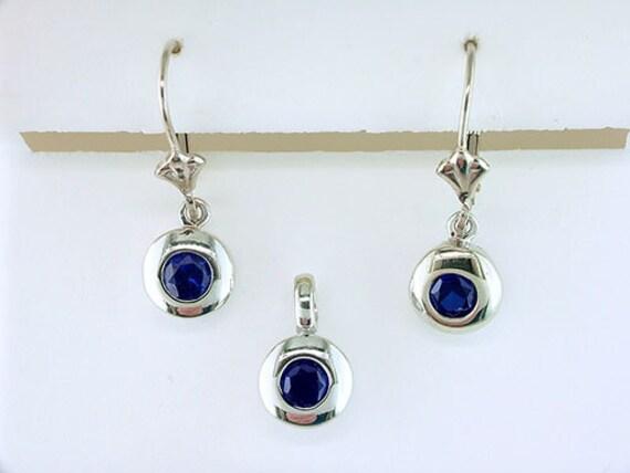 Sapphire Earrings Pendant Set 1ct White Gold Septe